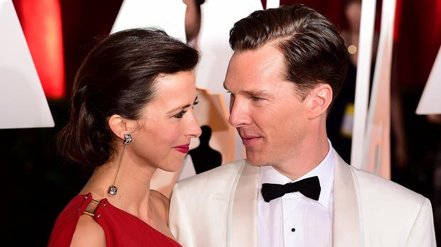 Sophie Hunter and Benedict Cumberbatch arriving at the 87th Academy Awards ceremony in Los Angeles