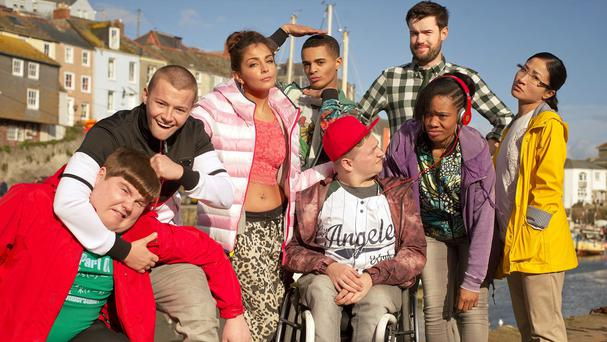 The cast of the Bad Education Movie, which has begun filming in Cornwall (Tiger Aspect Productions/PA Wire)