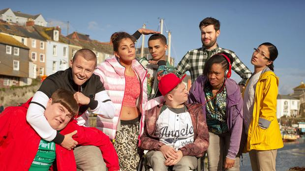 Jack Whitehall and the cast for the Bad Education Movie, which has begun filming in Cornwall (Tiger Aspect Productions/PA)