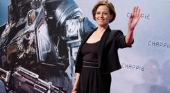 Sigourney Weaver poses for photographers during an event for the film Chappie in Berlin. (AP)