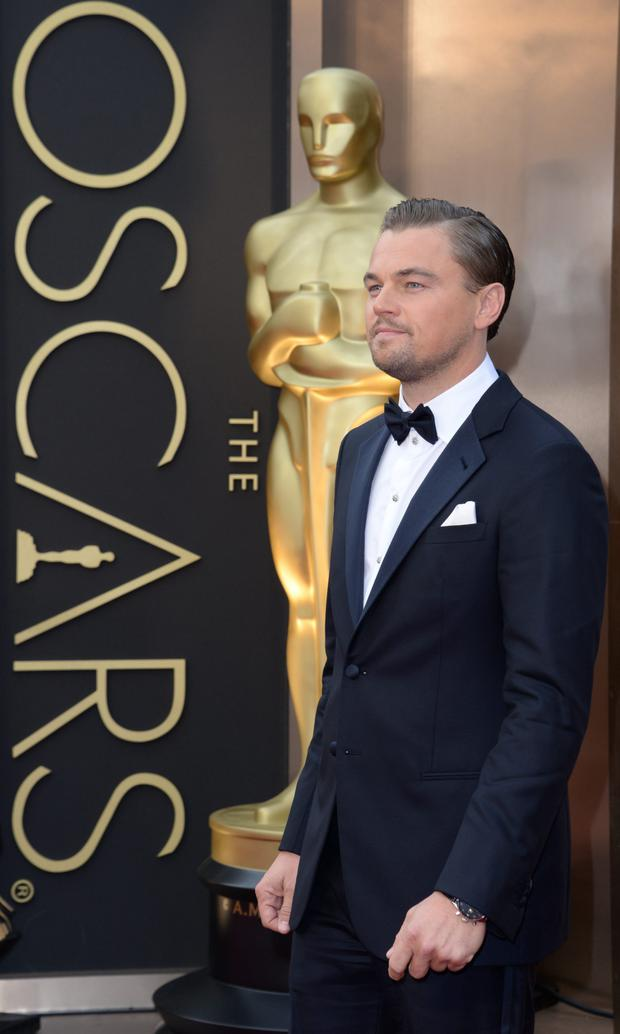 Leonardo DiCaprio arrives for the 2014 Oscars.