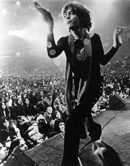 Mick Jagger captured in Gimme Shelter, which documented the Rolling Stones' 1969 US tour