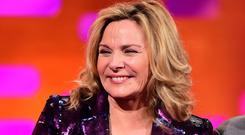 Kim Cattrall is pictured during filming of The Graham Norton Show