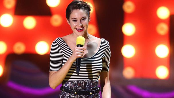 Shailene Woodley accepts the trailblazer award at the MTV Movie Awards at the Nokia Theatre in Los Angeles (Matt Sayles/Invision/AP)