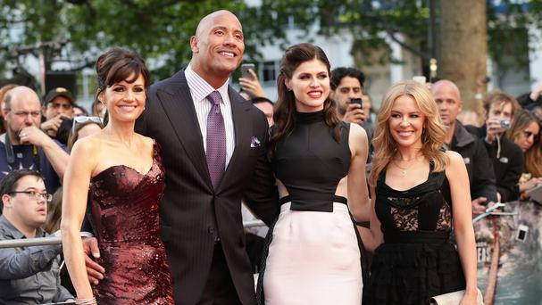 Dwayne Johnson with Carla Gugino, Alexandra Daddario and Kylie Minogue at the world premiere of San Andreas in Leicester Square