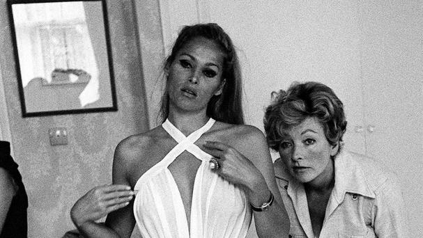 Julie Harris (right) with actress Ursula Andress on the set of the film Casino Royale