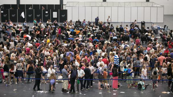 Young girls queue for the opportunity to star in the Harry Potter spin-off film Fantastic Beasts And Where To Find Them