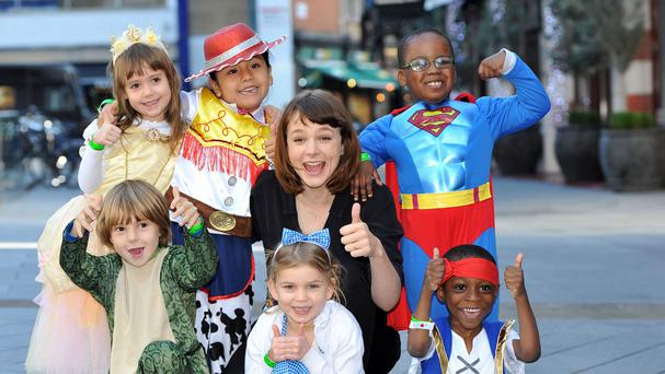 Carey Mulligan with pupils from Boutcher Primary School as they promote the Into Film Festival which returns for its second year (Into Film)