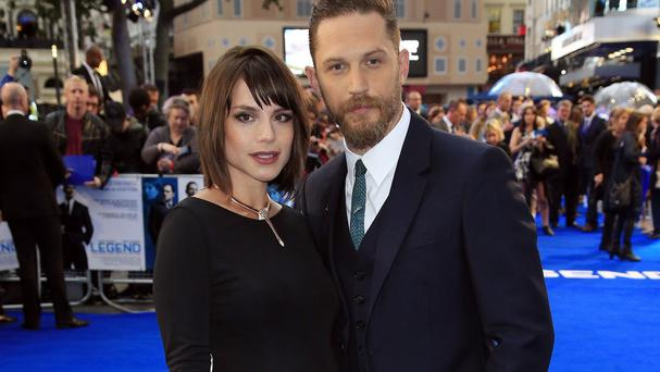 Tom Hardy and his wife Charlotte Riley attending the Legend world premiere at Odeon Leicester Square, London.