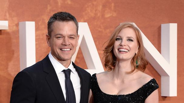 Matt Damon and Jessica Chastain attend the European premier of The Martian at Odeon Leicester Square, London