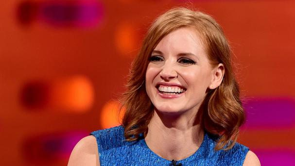 Jessica Chastain during filming of the Graham Norton Show