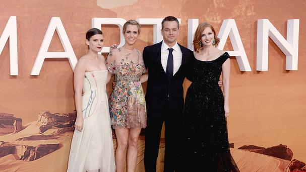 Matt Damon with fellow cast members Kate Mara, Kristien Wiig and Jessica Chastain