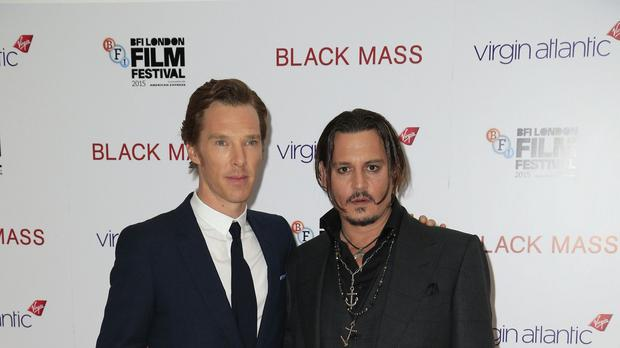 Benedict Cumberbatch (left) and Johnny Depp attending the premiere of Black Mass