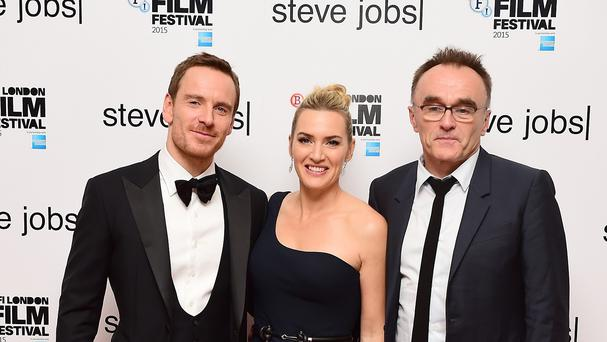 Michael Fassbender, Kate Winslet and Danny Boyle attend the premiere of Steve Jobs held during the 59th BFI London Film Festival