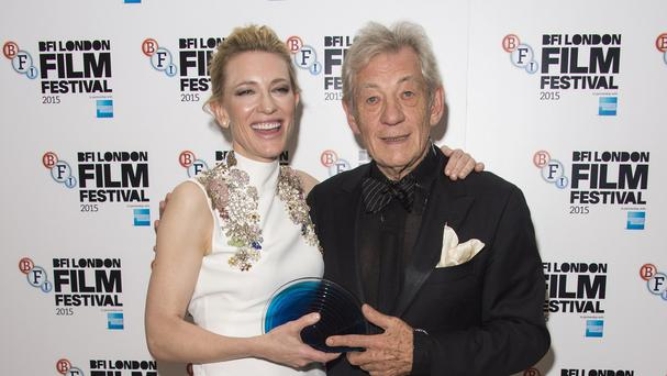 Cate Blanchett after receiving BFI Fellowship from Sir Ian McKellen
