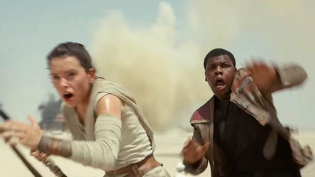 An image taken from the Star Wars YouTube channel of a scene from the trailer for Star Wars: Episode VII - The Force Awakens