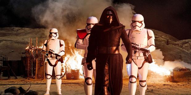 Path to the dark side: Kylo Ren and stormtroopers in The Force Awakens.