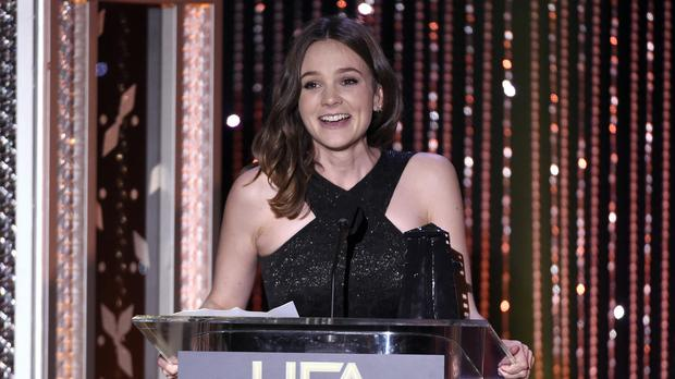 Carey Mulligan accepts the Hollywood actress award for Suffragette, at the Hollywood Film Awards (AP)