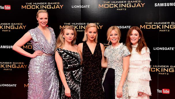 Gwendoline Christie, Natalie Dormer, Jennifer Lawrence, Elizabeth Banks and Julianne Moore attending the UK Premiere of The Hunger Games: Mockingjay, Part 2.