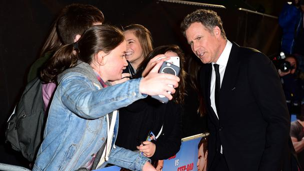 Will Ferrell poses for photos with fans at the premiere of Daddy's Home in London's Leicester Square