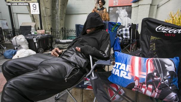 Star Wars have been queuing outside TCL Chinese Theatre waiting for the premiere of Star Wars: The Force Awakens in Los Angeles (AP)