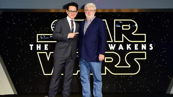 JJ Abrams, left, with original Star Wars creator George Lucas at the European premiere in London's Leicester Square
