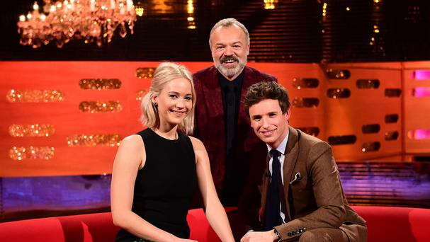 Jennifer Lawrence and Eddie Redmayne on The Graham Norton Show (BBC/PA)