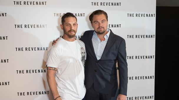 Tom Hardy, left, and Leonardo DiCaprio star in The Revenant
