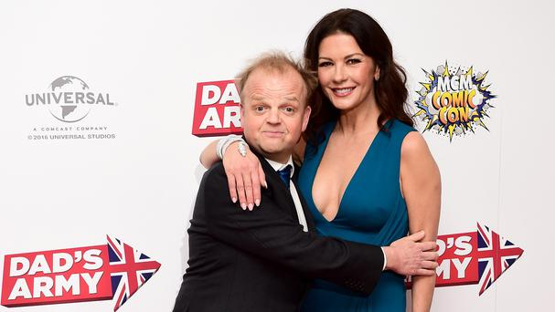 Toby Jones and Catherine Zeta-Jones at the world premiere of Dad's Army at the Odeon Leicester Square, London.