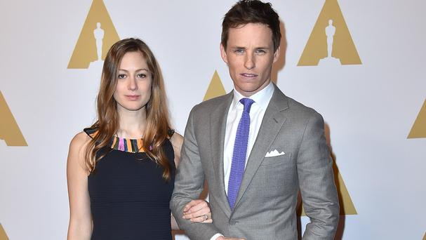 Eddie Redmayne and wife Hannah Bagshawe at the nominees lunch (Invision/AP)