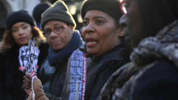Protesters from Creatives of Colour Network gathered outside the Royal Opera House in London