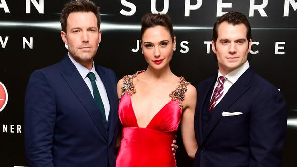 Ben Affleck, left, Gal Gadot and Henry Cavill on the red carpet at the Batman v Superman: Dawn Of Justice European premiere