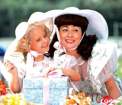 CRAZED: Faye Dunaway as Joan Crawford and Mara Hobel as her daughter Christina in the 1981 classic 'Mommie Dearest'