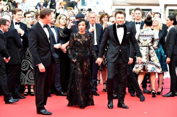 Ruth Negga later on the red carpet with her co-star, Australian actor Joel Edgerton. Photo: Getty