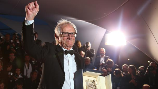 Director Ken Loach with his Palme D'Or for his film I, Daniel Blake (AP)