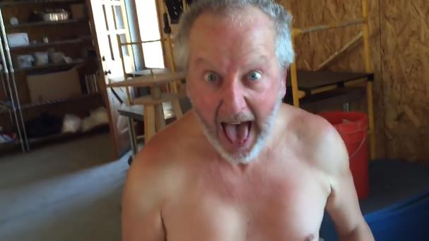 Screen-grabbed image taken from video uploaded to the YouTube page of Daniel Stern of the Home Alone actor re-enacting his famous spider scream movie scene