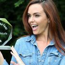 Hollyoaks actress Jennifer Metcalfe holds her award for Rear of the Year 2016