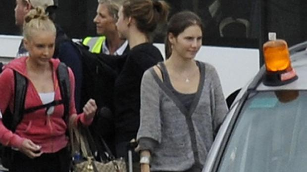 Amanda Knox at Heathrow Airport after she was acquitted of the murder of Meredith Kercher
