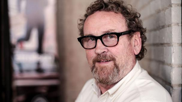 Colm Meaney attending an interview in Toronto about The Journey