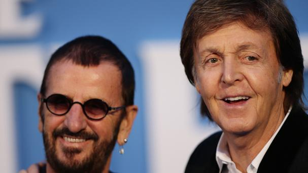 Sir Paul McCartney (right) and Ringo Starr at the film premiere