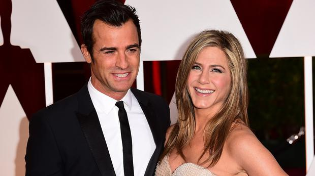 Justin Theroux and Jennifer Aniston at the Oscars in Hollywood in 2015.