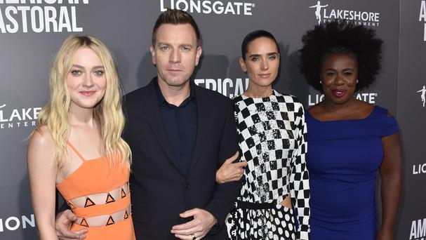 Ewan McGregor with his co-stars Dakota Fanning, Jennifer Connelly and Uzo Aduba at the Samuel Goldwyn Theatre (AP)