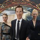 Benedict Cumberbatch with Rachel McAdams and Tilda Swinton in the foyer of the Odeon Leicester Square