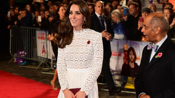 The Duchess of Cambridge attending the world premiere of A Street Cat Named Bob
