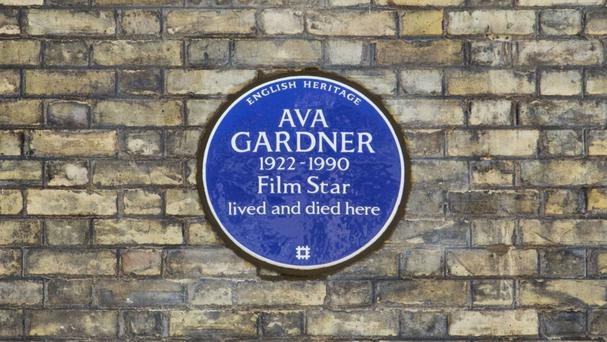 The blue plaque outside Ava Gardner's former home in Ennismore Gardens, Knightsbridge, London (Lucy Millson/English Heritage/PA Wire)