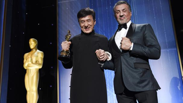 Honoree Jackie Chan with Sylvester Stallone at the 2016 Governors Awards at the Dolby Ballroom in Los Angeles (Chris Pizzello/Invision/AP)