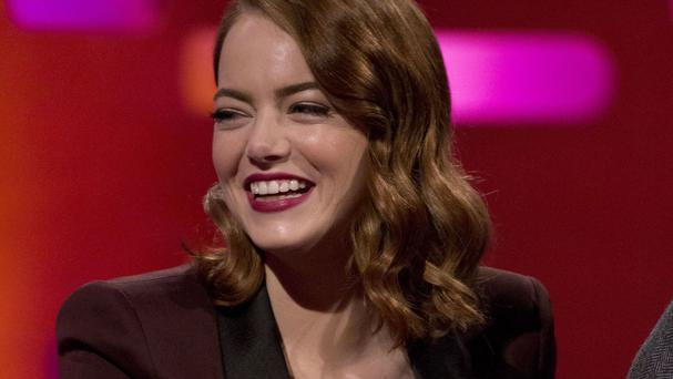 Emma Stone during filming of the Graham Norton Show, to be aired on BBC One on Friday