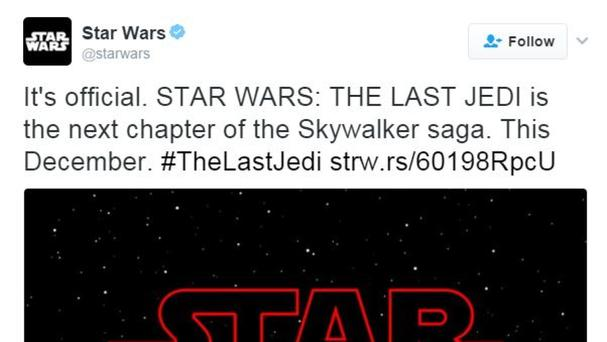 The official Star Wars Twitter feed announced the title of the next chapter in the film series as The Last Jedi