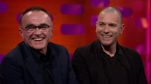 Danny Boyle, left, and Ewan McGregor during filming of the Graham Norton Show