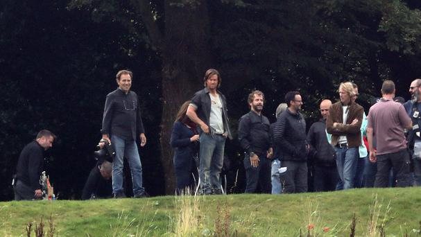 Mark Wahlberg and director Michael Bay during filming for the new film Transformers: The Last Knight filming, at Alnwick Castle in Northumberland